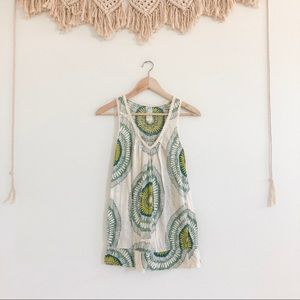 Anthropologie Green and Cream Airy Boho Tank